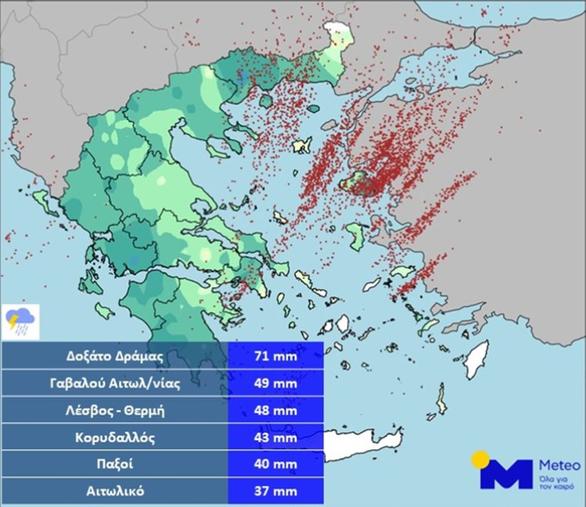 Δυτική Ελλάδα: Σε ποιες περιοχές καταγράφηκαν μεγάλα ύψη βροχής